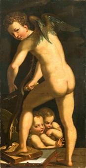 amor seinen bogen schnitzend by parmigianino
