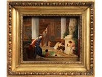 römisch-antike interieurszene mit im bad spielenden kindern by ettore forti