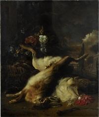 jagdstillleben mit totem hasen, blumen und ausblick auf ein palastgebäude by jan weenix
