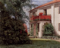 trädgårdsmotiv med vit villa by hugo alfven
