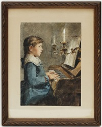 petite fille au piano by albert anker