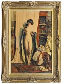 modèle nu dans l'atelier by heinrich rettig
