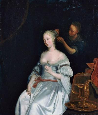 junge dame mit einer dienerin bei der toilette by eglon hendrik van der neer