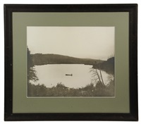 canoeist on a lake by chansonetta stanley emmons