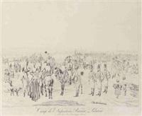 la cavalerie bavaro-palatine en marche - camp de l'infanterie bavaro-palatine - drei infanteristen mit zwei kavalleristen - kavallerist mit bäuerin (4 works after wilhelm von kobell) by adam von bartsch