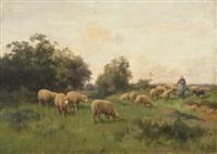 landschaft mit hirtin und schafherde by charles henri quinton