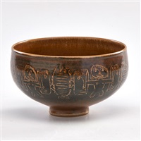 footed bowl with incised figures and fish, green valley by edwin and mary scheier