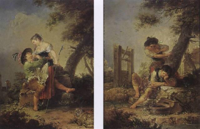 pastoral scene: a sleeping boy caught by a girl by januarius johann rasso zick