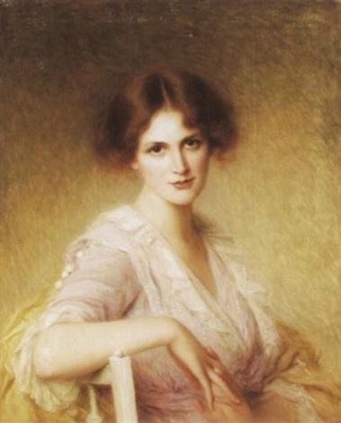 porträt einer jungen frau im lila kleid by edouard cabane