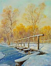 vinterlandskab med bro over en flod by olga aleksandrovna (princess of storfyrstinde)