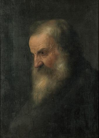 porträtt av man med skägg by jan lievens