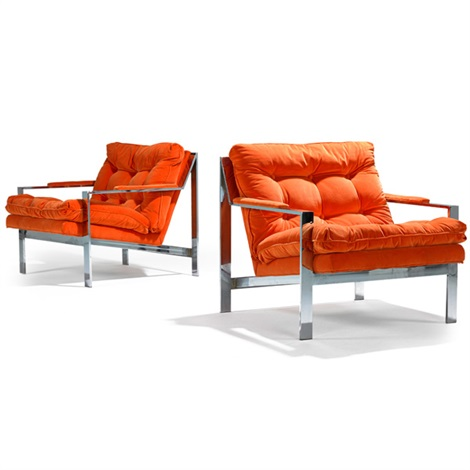 flat bar lounge chairs pair by milo baughman