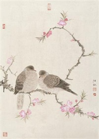 桃花双禽 (bird and flowers) by ren huan