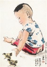 童戏 镜心 设色纸本 by jiang zhaohe