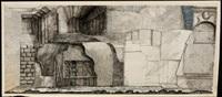 verschalung (+ treppe mit architekturelementen und steinen, 1970, pen and ink with watercolor, smllr; 2 works) by peter ackermann