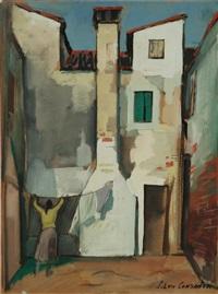cortile con figura by silvio consadori
