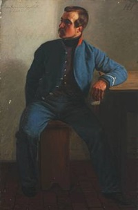portrait of the husaar jens sørensen uggelbölle by hans jörgen hammer