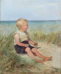 beach scape with a boy in the sand by emilie (caroline e.) mundt