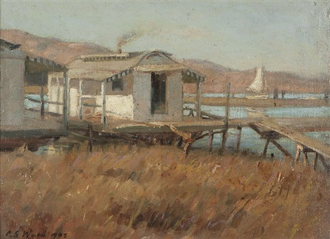 fishing shacks and sailboat southern california by charles s ward