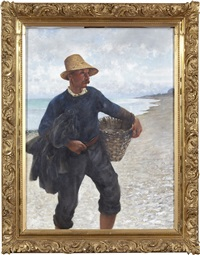ostronplockare på strand by august vilhelm nikolaus hagborg