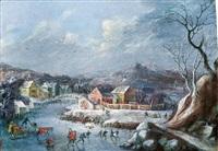 winterlandschaft mit eisläufern by robert griffier