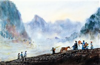 凉山归耕 (on the way back from field in liangshan) by ha ding