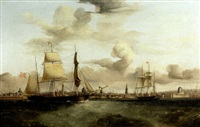 "the barque ""orkney lass"" in liverpool harbor by william kimmins mcminn"