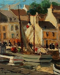 summer day in south european harbour by eugenio alvarez dumont