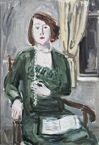 portrait einer jungen frau im grünem kleid mit langer perlkette im armlehnstuhl by julius herburger