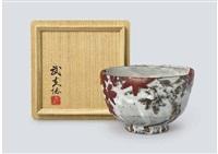 tea bowl depicting maple by arakawa toyozo