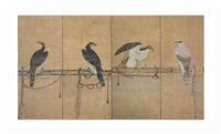 tethered hawks by anonymous-japanese (edo period)