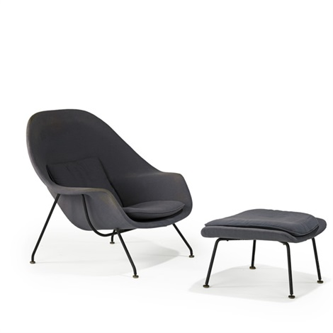 womb chair and ottoman (2 works) by eero saarinen