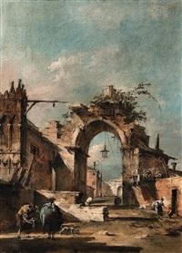 capriccio con arco rovinato e mura di paese by francesco guardi
