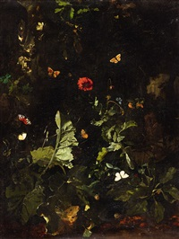 a forest still life with butterflies by nicolaes de vree