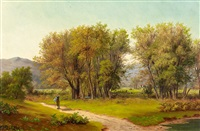 wanderer in sommerlicher landschaft by eduard caspar post