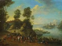 flusslandschaft mit reitern un booten by jan frans van bredael the elder
