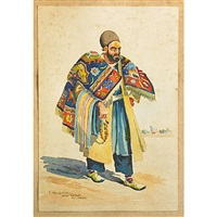 sketches of men in varied middle eastern dress (5 works) by sirak melkonian