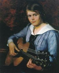 portrait eines jungen mädchens in blauem kleid mit saiteninstrument by joseph reiner