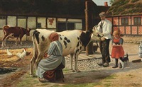 a farm yard with a woman milking a cow, a man and a girl, and other animals by lars soren jensen rastrup