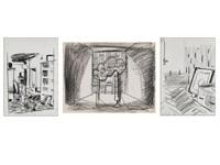 drei zeichnungen (3 works) by matthias weischer