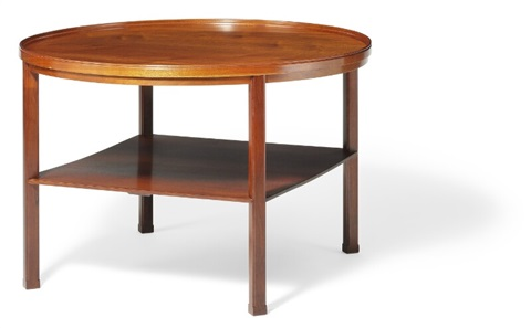 Circular Cuban Mahogany Coffee Table With Underlying Square Shelf By Kaare Klint
