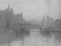 harbor scene with bridge and shipping by g. raab