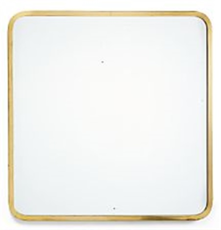 square mirror with brass frame with rounded corners by josef frank
