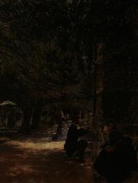 waldlichtung mit zwei malern vor staffeleien, begleitet von eleganten damen by douglas volk
