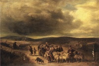 an extensive landscape with numerous figures and a shepherd with his flock in the foreground by eduard caspar post