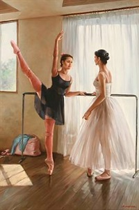 teacher and student practicing ballet by alexander akopov