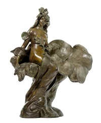 lampe in form einer dame mit grosser blume by pierre-etienne daniel campagne