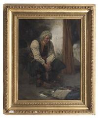 paysan breton pleurant sur le sac de son fils mort à l'armée by auguste bachelin