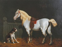 horse with a dog in a stable by théodore fort