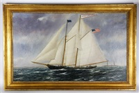 gaff rigged schooner: the emma and hellen by william pierce stubbs